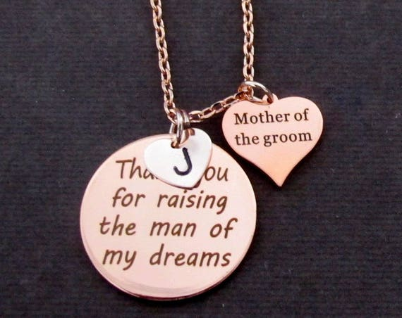 Mother in law gift,Mother's Day Gift, Thank You for Raising the Man Necklace,Rose Gold Necklace, Mother of Groom Gift, Free Shipping USA