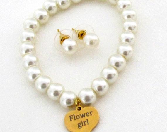 Flower Girl Jewelry Set,Flower girl bracelet and Stud Earrings,Flower girl gift,Junior bridesmaid gift,Children's Jewelry, Free Shipping USA