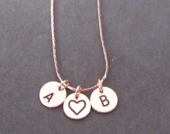 Rose Gold Initial Necklace,Initial and Heart Necklace,2 Two Initials Jewelry,Initial Heart Necklace,Hand Stamped,Mom Gift, Free Shipping USA