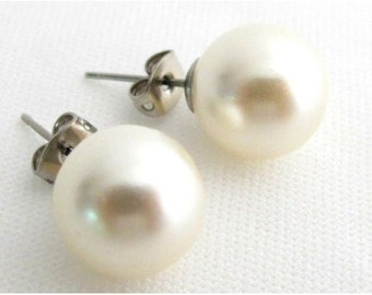 5c19831bd 12mm Pearl Stud Earrings, Ivory Pearl Stud Earrings, Wedding Pearl Stud  Earrings,Bridesmaid Earrings,Wedding Party Gift Free Shipping USA