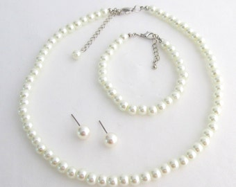 Classic 3 Piece Set Bridal Set Hunter Green Pearl Necklace Set Bridesmaid Jewelry Set Flower Girl Pearl Gift Set Prom Jewelry