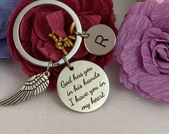 Angel Wing Key Chain God has you in His Hands I have You In My Heart Bereavement Gift Personalized memorial keychain Free Shipping USA