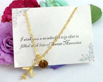 Gold airplane necklace, Airplane necklace, Jet Plane Necklace, Personalized Initial, Best friends travel, sister travel, cousin travel gift