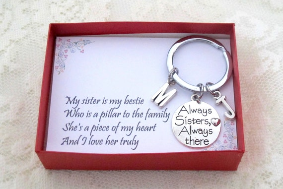 Sister Gift, Gift for Sister, Sister Birthday Gift, Big Sister Gift,Forever friends, Giggles, Secrets, Always Sisters Always there Keychain