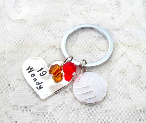 Hand Stamped Personalized Volleyball Keychain - Girls Volleyball Gift, Basketball Gifts - Basketball Keychain, Basketball Senior Night Gifts