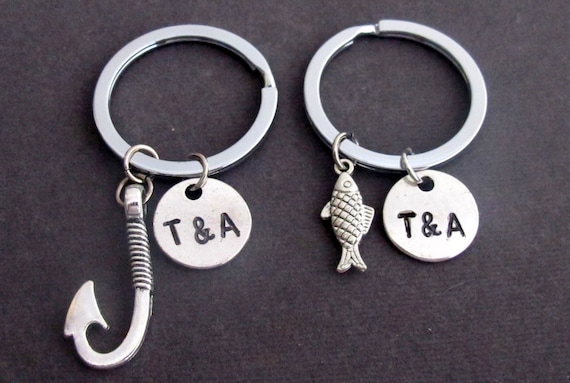 Fish & Hook Key Chain Set, Husband Wife, Girlfriend Boyfriend, Couples Jewelry gift, Anniversary Gift,Couples Keychain, Free Shipping USA
