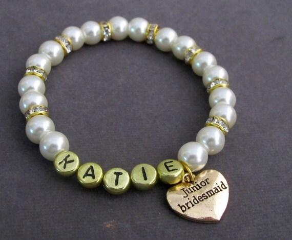 Gold Name Junior Bridesmaid Bracelet, Personalized Gold Junior Bridesmaid Bracelet, Gold Flower Girl,Bracelet, Free Shipping USA