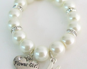 Flower Girl Personalized Bracelet Initial Name Bracelet Junior Bridesmaid Bracelet Wedding Jewelry Children Bracelet Free Shipping In USA
