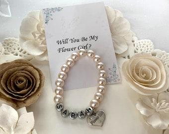 Girls Personalized Bracelet, Flower Girl  Bracelet, Kids Pearl Bracelet, Wedding Jewelry, Flower Girl Jewelry, Free Shipping In USA