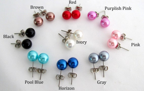 Glass Pearl Stud Earrings Glass Pearl Earrings Pearl Post Earrings 9 Colors 8mm Pearl Stud Earrings Free Shipping In USA