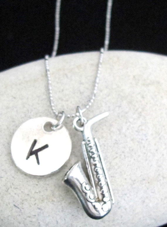 Saxophone Necklace Music jewelry, music gift, Music teacher, initial hand stamped, personalized jewelry,  Music Gift Free Shipping In USA