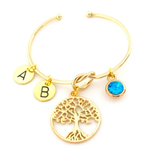 Personalized Family Tree Gold Bangle,Bracelet for Mom,Grandma,Nonnie,Sister,Aunt, Mother's Day gift,Grandmother Gratitude, Free Shipping USA