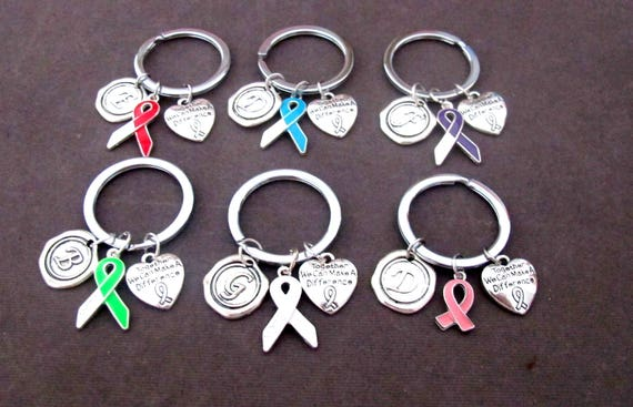 Ribbon Awareness Keychains, Blue Ribbon, Green Ribbon, Purple Ribbon, Red Ribbon, Pink Ribbon, Ribbon Awareness Jewelry, Free Shipping USA
