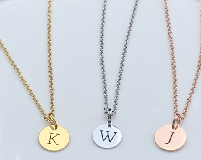 Gift for Kids Initial Disc Necklace, Letter Necklace,Gold Disc Necklace, Personalized Jewelry, Pendant Necklace,Personalized Charm Necklace