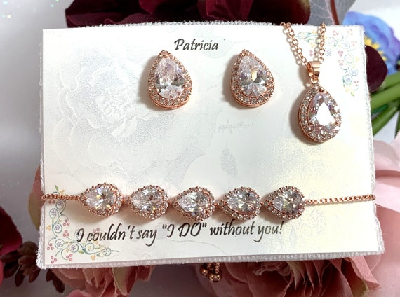 Personalized Bridesmaid gift set Bridal necklace earrings bracelet Rose gold silver Zirconia Teardrop Earrings, Wedding Jewelry Set Gold
