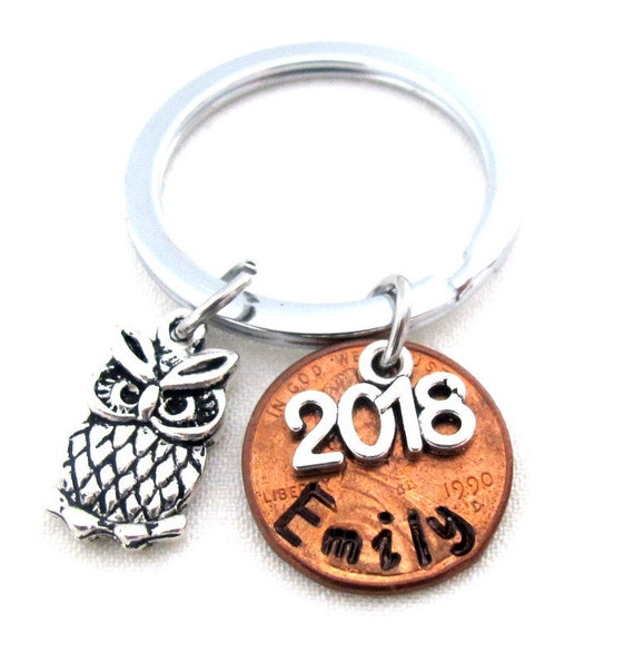 Grad gift for Senior Students, Gift for Graduate,Owl Charm Penny Keychain,Graduation gift, Wisdom Gift, College Grad gift, Free Shipping USA
