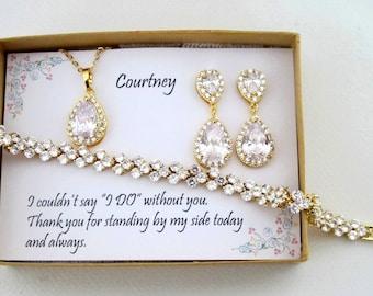 Tear drop Bridesmaid Earrings, Bridal Earrings, CZ Bracelet, Cubic Zirconia Earrings, Wedding Jewelry Set, Gold Set, Custom Wedding Jewelry