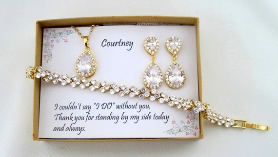 Tear drop Bridesmaid Earrings, Bridal Earrings, CZ Bracelet, Cubic Zirconia Earrings, Wedding Jewelry Set, Gold Set, Custom Wedding Jewelry