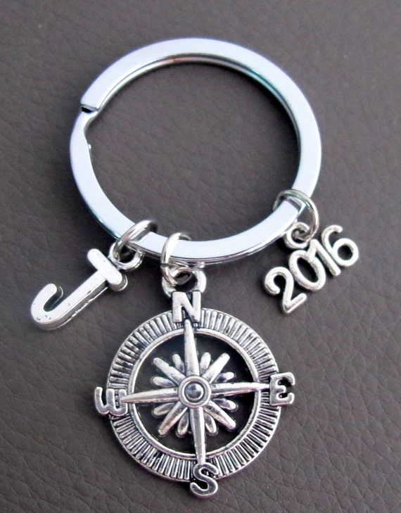 Compass Keychain, Graduation Gift, 2016 Graduate Gift, Couples Gift, Boyfriend Keychain Gift, Anniversary Gift, Personalised Compass keyring