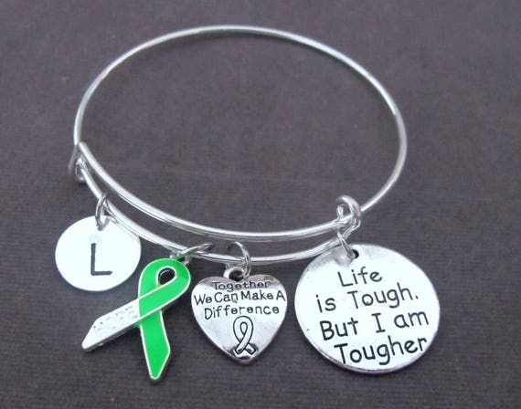 Green Ribbon Awareness Bracelet,Adrenal Cancer,BiPolar Disorder,Cerebral Palsy,Kidney Cancer,Organ Donation,Mental Health,Free Shipping USA,