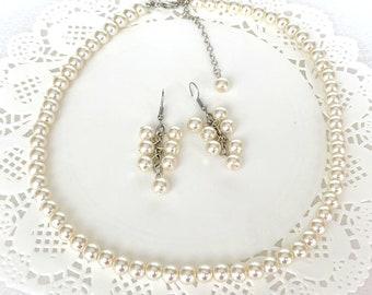 Bridesmaid Pearl Jewelry Set,Bridesmaid Pearl Necklace Earrings,Ivory Pearl Necklace Earrings Set,Bridesmaid Jewelry Set Free Shipping USA
