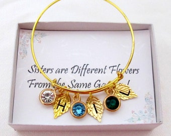 Personalized Mothers Bracelet,Birthstone Bracelet,Sister Gift,Sister jewelry,Family gift,Family tree,Mom gift,Grandma gift,Free Shipping USA