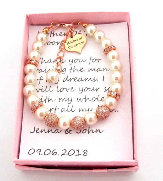 Mother of Groom bracelet,Mother of Bride,Rose gold Grandma of Groom/Bride,Rose Gold Wedding Jewelry, Mother In Law gift, Free Shipping USA