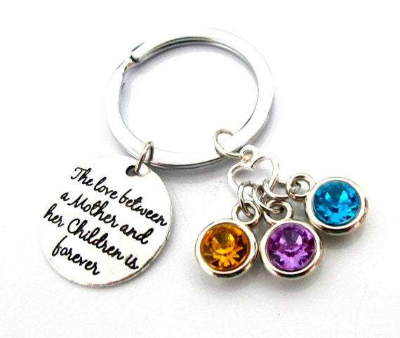 Mom and Her Children Keychain,Mother her children birthstone Keychain,Gift for Mom Wife Mother Daughter Best Friend Sister,Free Shipping USA