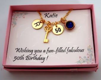 50th Birthday Gift for Women,50th Birthday Necklace, Custom age tag Birthday Necklace, Key,Initial,Birthstone and age tag, Free Shipping USA