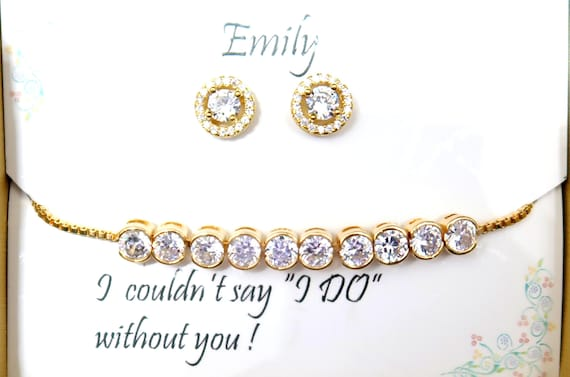 Bridesmaid gift,,Cubic Zirconia,Gold Wedding gift, Earrings ,Round CZ Stud ,Wedding Jewelry, Cz Gold Bracelet Earrings. Free Shipping In USA