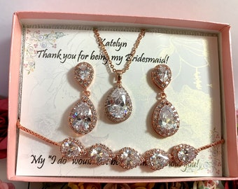 Personalized bridesmaid earrings, wedding earrings, tear drop earrings, bridal party gift, Bridesmaid proposal gift, Rose gold jewelry set