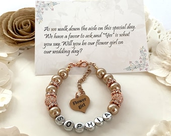 Rose Gold Flower Girl Bracelet, Personalized Flower Girl Jewelry,Flower Girl Gift,Wedding Party Gift,Bridal Party Gift, Free Shipping In USA