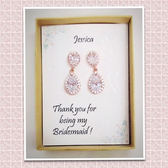 Custom Color, Rose gold Tear drop Bridal Earrings, Bridesmaid gift, Bridesmaid jewelry,Mother of Bride gift,Cubic Zirconia Wedding Earrings,