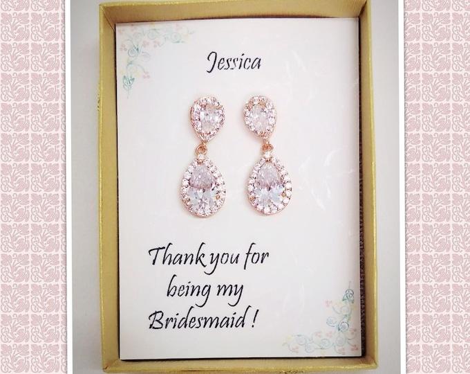 Custom Color, Rose gold Tear drop Bridal Earrings, Bridesmaid gift, Bridesmaid jewelry,Mother of Bride gift, Cubic Zirconia Wedding Earrings