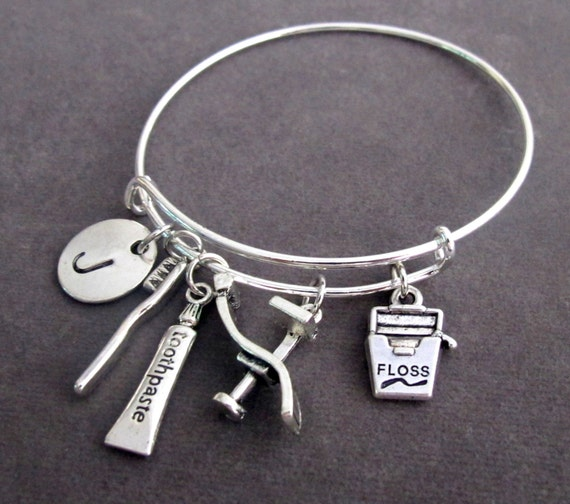 Dental Hygienist Bangle,Dental Bracelet,Dentist Charm Bracelet,Dentist Jewelry,Dental Hygienist Gift,Dental Office Gift,Free Shipping In USA