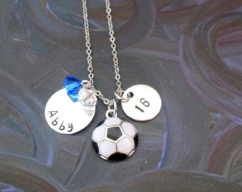 Personalized Soccer Necklace, Custom Soccer Jewelry with Your Name Number,  Soccer Team Gifts, Soccer Team Necklace,Girls Soccer Necklace