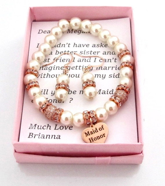Rose Gold Wedding Jewelry, Maid of Honor Gift, Wedding Rose gold Bracelet, Earrings, Bridesmaid gift,Matron of Honor gift, Free Shipping USA