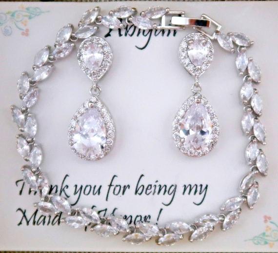Bridesmaid CZ Bracelet Set, Bridesmaid CZ Earrings Set, Cubic Zirconia Wedding Jewelry Set, CZ Teardrop Bridal Earrings, Bridesmaid gift Set