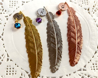 Personalized BookMark Gift,Book Lover Gift,Monogram Initial, Book Club Gifts, Custom Bird Feather BookMark, Metal Feather, Free Shipping USA