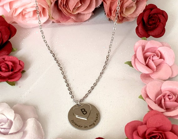 Forever in my Heart Necklace, Miscarriage Necklace, Loss of a Loved one RIP Never Forgotten In loving memory Memorial Necklace, Sympath gift