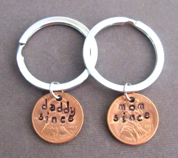 Daddy Since Penny Keychain Mommy Since Keychain,Lucky Penny Keychain, Mom dad Gift,Mother's Day Gift,Father's Day gift, Free Shipping In USA
