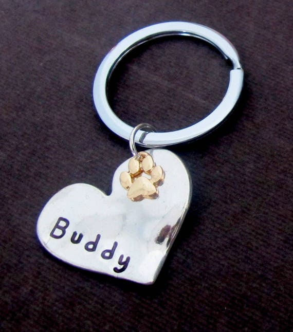 Personalized Pet Jewelry,Gold Paw Print Dog Jewelry,Cat Jewelry, Jewelry,Rose Gold Paw Print Keyring,Custom Pet Lover gift,Free Shipping USA