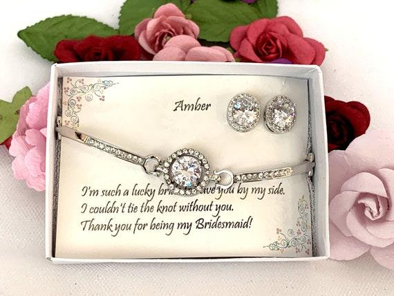 Bridesmaid CZ Bracelet, Cubic Zirconia, Bridesmaid Bracelet Earrings, Wedding gifts, Wedding Earrings, Bridesmaid gift, Maid of honor gift