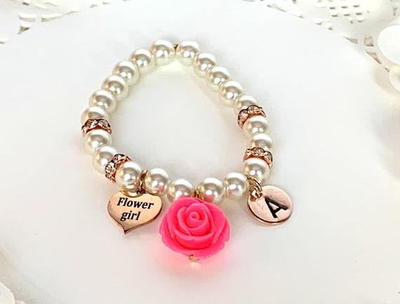 Flower girl Rose Gold Bracelet, Personalized Flower Girl Bracelet, Rose Gold Bracelet, Rose gold Junior Bridesmaid gift, Wedding Jewelry