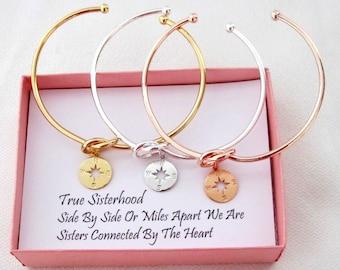 Compass Bracelet Sister Gift Sister Bracelet,Sisters Birthday best friend sorority gift,Rose gold Compass Bracelet Compass graduation gifts