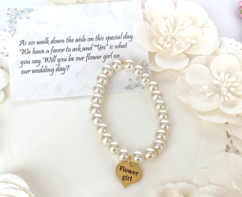 Flowergirl bracelet,pearl bracelet,wedding gift ideas