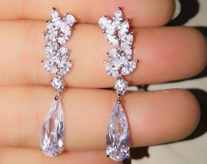 Crystal Earrings, Crystal Bridal Earrings, White Gold Teardrop Earrings, Crystal Drop Earrings,Silver Wedding Earrings,Siver wedding earring