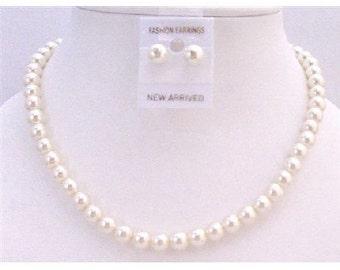 Cream Pearls Wedding Jewelry Set Cream Pearls Stud Earrings Wedding Pearl Necklace Bridesmaid Pearl Jewelry Wedding Gift Free Shipping USA