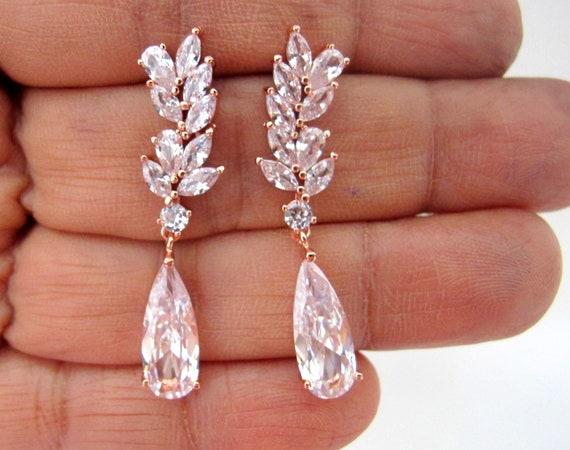 Crystal Bridal Earrings,Bridal earrings,Rose gold earrings,Bridesmaid earrings,Prom earrings.Wedding Earrings,Marquise,Crystal Earrings
