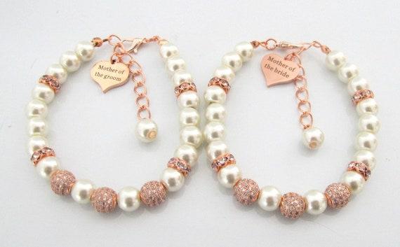 Rose Gold Mother of Groom Bracelet,Mother of Bride Bracelet,Custom Rose Gold Wedding Jewelry,Rose Gold Wedding Bracelet,Free Shipping In USA